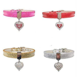 Bling Rhinestone Heart Charm Dog Collar Cat Adjustable Collar Necklace