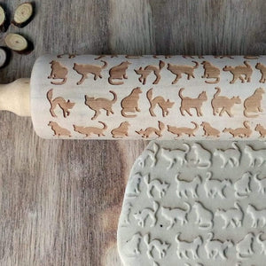 Cat Wooden Baking Pastry Rolling Pin