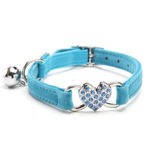 Heart Charm Bell Cats Collar Safety Elastic Adjustable Velvet Material Blue