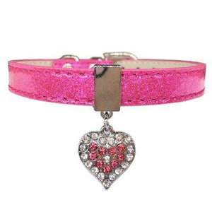 Bling Rhinestone Heart Charm Dog Collar Cat Adjustable Collar Necklace Pink
