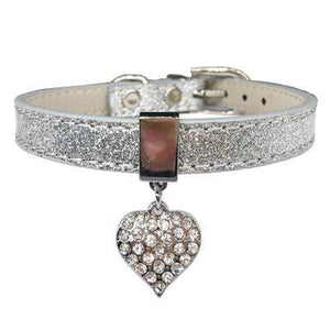 Bling Rhinestone Heart Charm Dog Collar Cat Adjustable Collar Necklace Silver