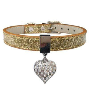 Bling Rhinestone Heart Charm Dog Collar Cat Adjustable Collar Necklace Gold