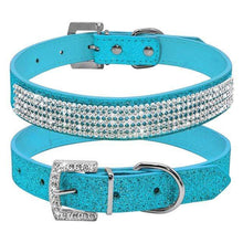 Load image into Gallery viewer, Bling Diamante Rhinestone Leather Collar Blue