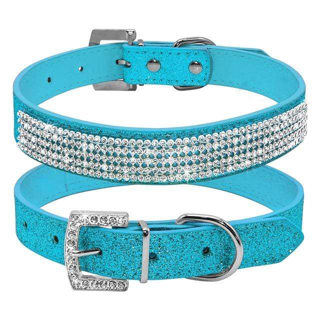 Bling Diamante Rhinestone Leather Collar Blue