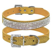 Load image into Gallery viewer, Bling Diamante Rhinestone Leather Collar Yellow