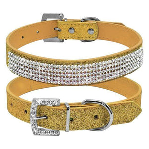 Bling Diamante Rhinestone Leather Collar Yellow