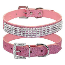Load image into Gallery viewer, Bling Diamante Rhinestone Leather Collar Pink