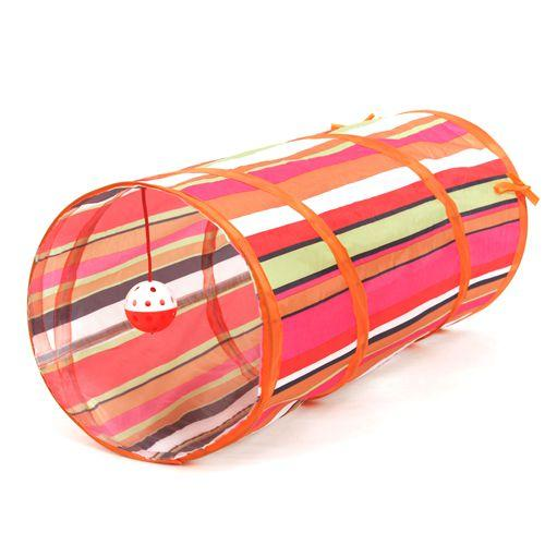 Funny Pets Cat 2 Holes Tunnel Collapsible Ball Tube Play Training Toys Red