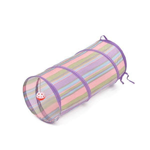Funny Pets Cat 2 Holes Tunnel Collapsible Ball Tube Play Training Toys Purple