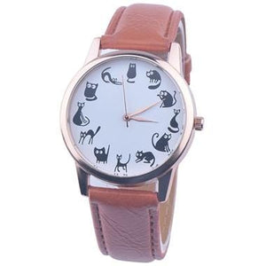 Fashion Women Cat Watch Print Cute Cat Kitty Analog Quartz Leather Band Brown