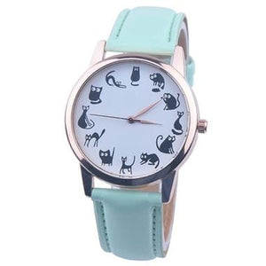 Fashion Women Cat Watch Print Cute Cat Kitty Analog Quartz Leather Band Blue