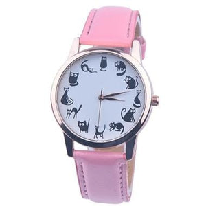 Fashion Women Cat Watch Print Cute Cat Kitty Analog Quartz Leather Band Pink