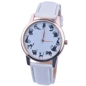 Fashion Women Cat Watch Print Cute Cat Kitty Analog Quartz Leather Band White