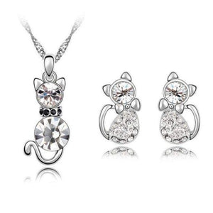 Crystal Cute Cat Pendant Necklace Earring Quality Women Fashion Jewelry Silver