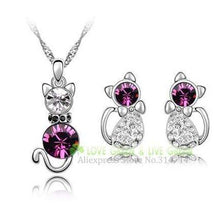 Load image into Gallery viewer, Crystal Cute Cat Pendant Necklace Earring Quality Women Fashion Jewelry Purple
