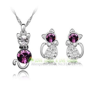 Crystal Cute Cat Pendant Necklace Earring Quality Women Fashion Jewelry Purple