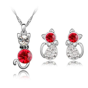 Crystal Cute Cat Pendant Necklace Earring Quality Women Fashion Jewelry