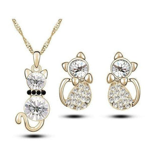 Crystal Cute Cat Pendant Necklace Earring Quality Women Fashion Jewelry Golden
