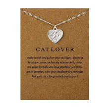 Load image into Gallery viewer, Gold Silver Fashion Heart Necklace Charm Paw Dog