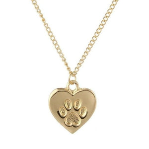 Gold Silver Fashion Heart Necklace Charm Paw Dog Cats Lover Cute Print Gold