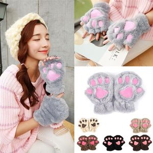 Warmth Finger less Gloves Fluffy Cat Paw Soft Warm Lovely Cute Gloves