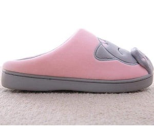 Plush Women Winter Home Slipper Indoor Bedroom Loves Couple Shoes Warm Pink and Gray