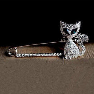 Woman Fashion Jewelry  Animal Brooches Cute Eye Crystal Cat Brooch Pin