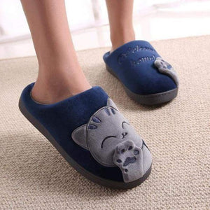 Plush Women Winter Home Slipper Indoor Bedroom Loves Couple Shoes Warm Blue