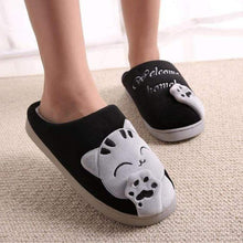 Load image into Gallery viewer, Plush Women Winter Home Slipper Indoor Bedroom Loves Couple Shoes Warm Black
