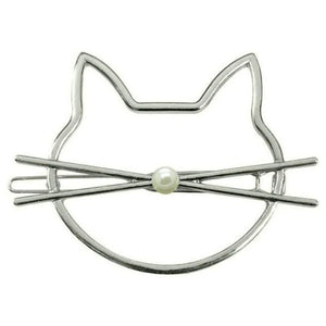 Cat Hairpins Hair Clips Hairgrip Hair Accessories Silver