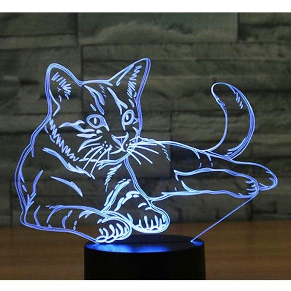 3D LED Night Light Alert Cats 7 Colors Light for Home Decoration Lamps Blue