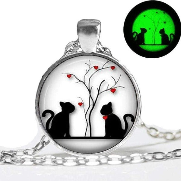 Glowing Pendant Cats Heart Pendant Glow In The Dark Glass Dome Jewelry