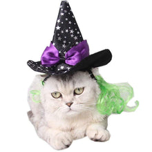 Load image into Gallery viewer, Cool Star Spider Web Pet Cat Dog Halloween Costume Cosplay Wizard Hat
