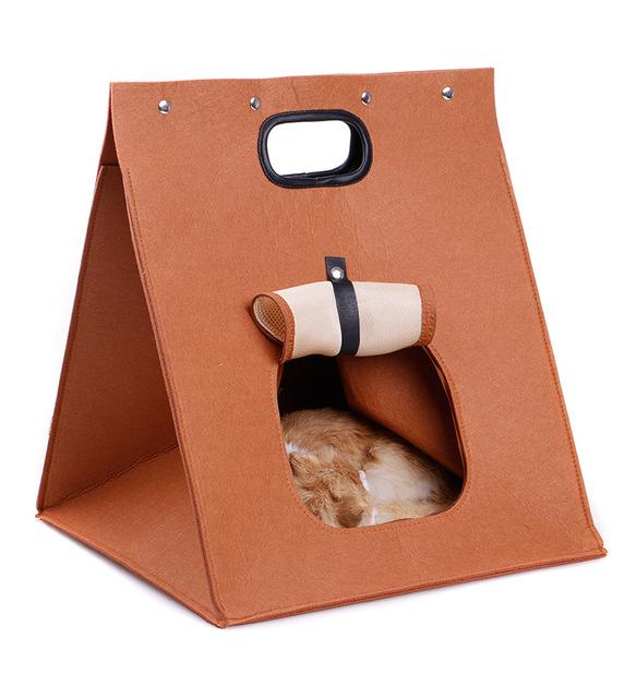 Washable Pet Cat Carrier Bag Foldable Portable Breathable Puppy Kennel Brown