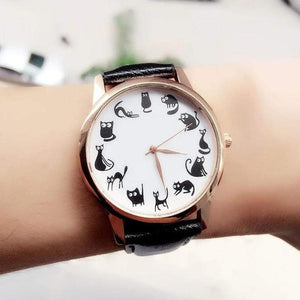 Fashion Women Cat Watch Print Cute Cat Kitty Analog Quartz Leather Band Black