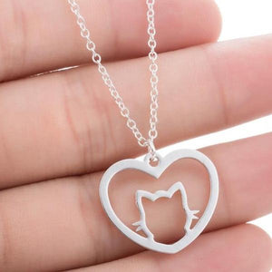 Minimalist Love Heart Necklace Cat Pendant Women Jewelry Pet Love Gift Silver