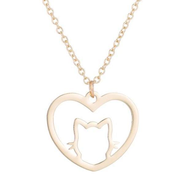 Minimalist Love Heart Necklace Cat Pendant Women Jewelry Pet Love Gift Gold