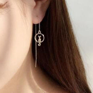 Elegant Cat on Moon Lucky Earrings