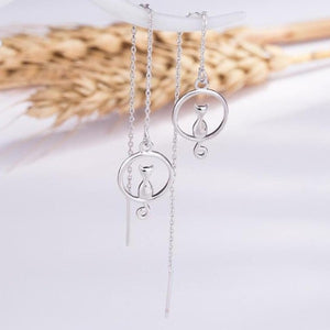 Cute Cat Moon Earrings Women Lucky Animals Long Chain Jewelry Fashion