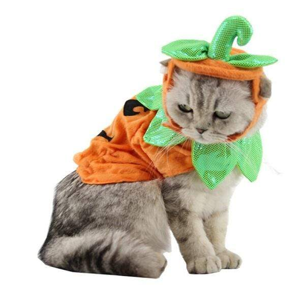 Pumpkin Cat & Cape Costumes Cloak Halloween Poncho For Kittens Puppy