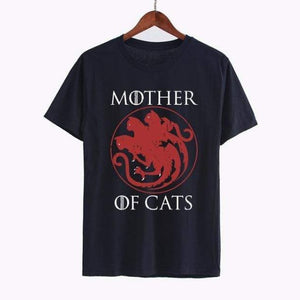 Mother Of Cats Women T-Shirts Cat Print Black Graphic Tees Sexy Short Sleeve