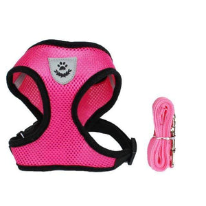Pink Cat Dog Harness Leash, Breathable & Adjustable Pet Harness For Walking