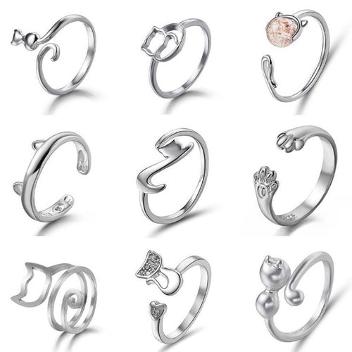 Adjustable Classy Cat Ring Collection