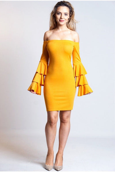 Celia Bardot Layered Sleeves Dress Mustard