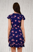 Floral Frill Detail Navy Wrap Dress