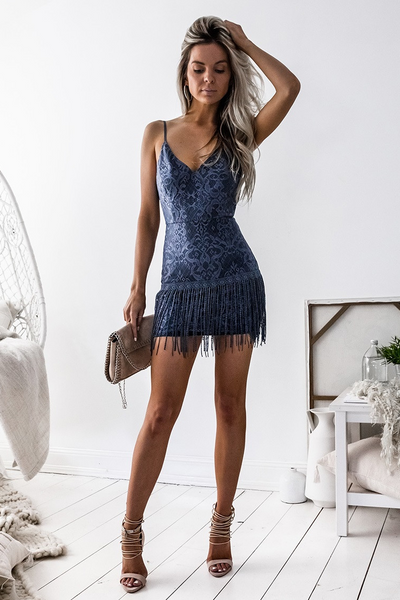 Shimmy Dress Steel Blue