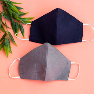 Breathable linen solid color masks (Set of 2)