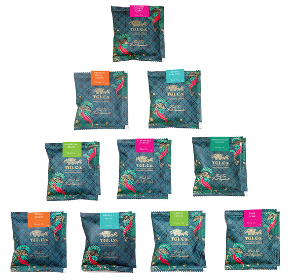 TGL Best Sampler Tea Bags, Tea Assortment | 10 Teas, 1 Pyramid Tea Bag of Each