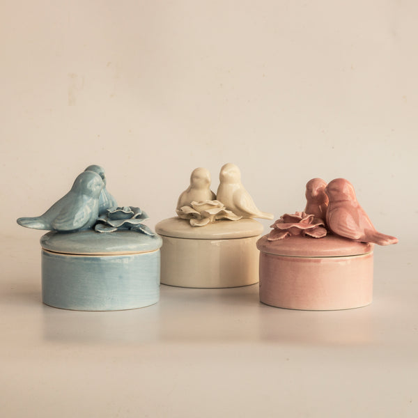 Ceramic Bird Trinket Box