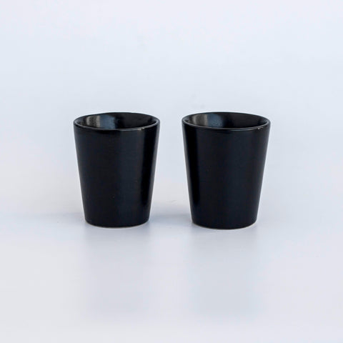 Ceramic Espresso Cups/Short Glasses - Black